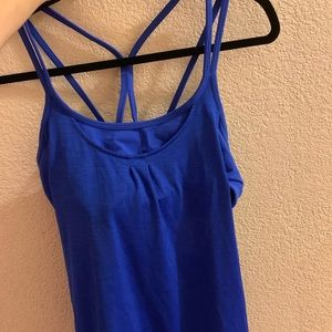Athleta bright blue women's tank with sports bra